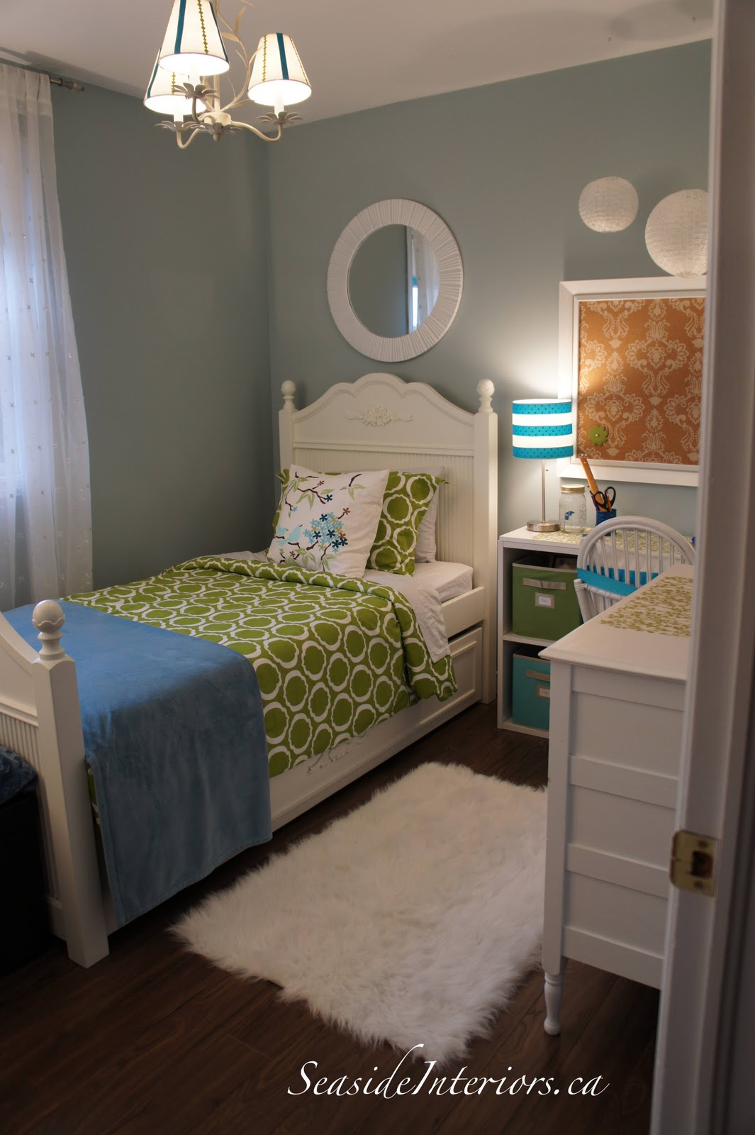 Green and blue girls room redo seaside interiors for Pretty small bedrooms